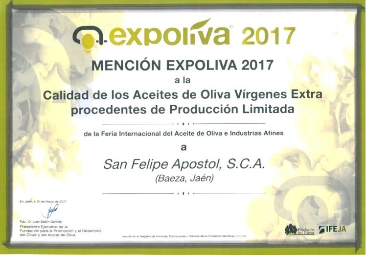PREMIO MENCION EXPOLIVA 2017